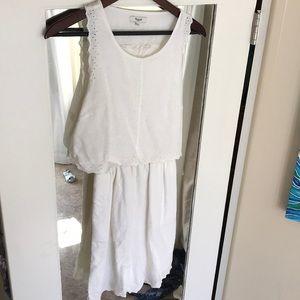 Madewell white eyelet overlay dress